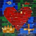 Heart & crown mosaic