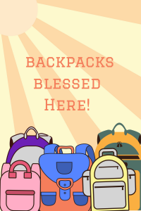 Backpacks blessed here! Join us for our annual Blessing of the Backpacks.